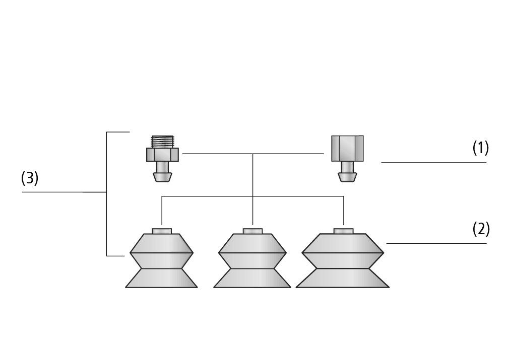 Ventosas de fuelle FSGA SI-HD (1,5 pliegues)