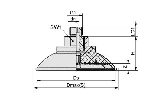 SAF 100 NBR-45 M14x1.5-AG