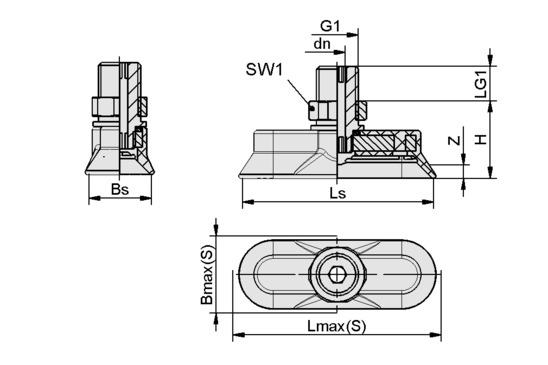 SAOG 95x40 NBR-45 G3/8-AG