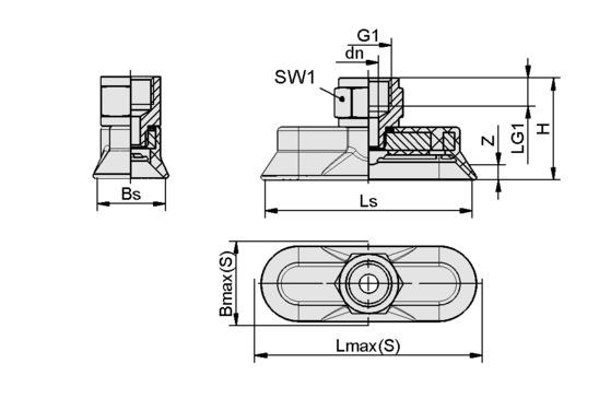 SAOG-S 95x40 NBR-60 G3/8-IG