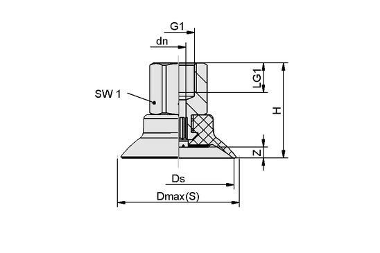 SUF 25 NBR-ESD-55 G1/8-IG
