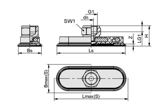 SAOF 100x50 NBR-60 G1/4-IG