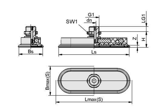 SAOF 100x50 NBR-45 G1/4-AG