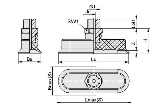 SGON 30x10 NBR-ESD-55 G1/8-AG