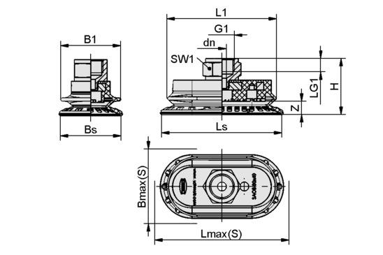 SAOB 140x70 NBR-60 G3/8-IG