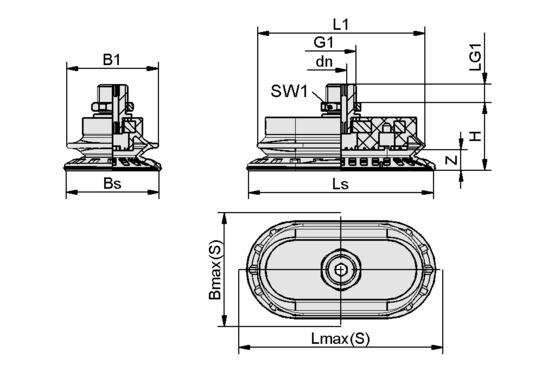 SAOB 140x70 NBR-60 G1/4-AG