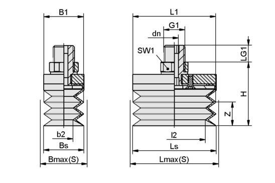 FSGB-R 52x25 NBR-50 G1/4-AG