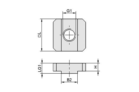 NUT-STEI 15x15 M8-IG
